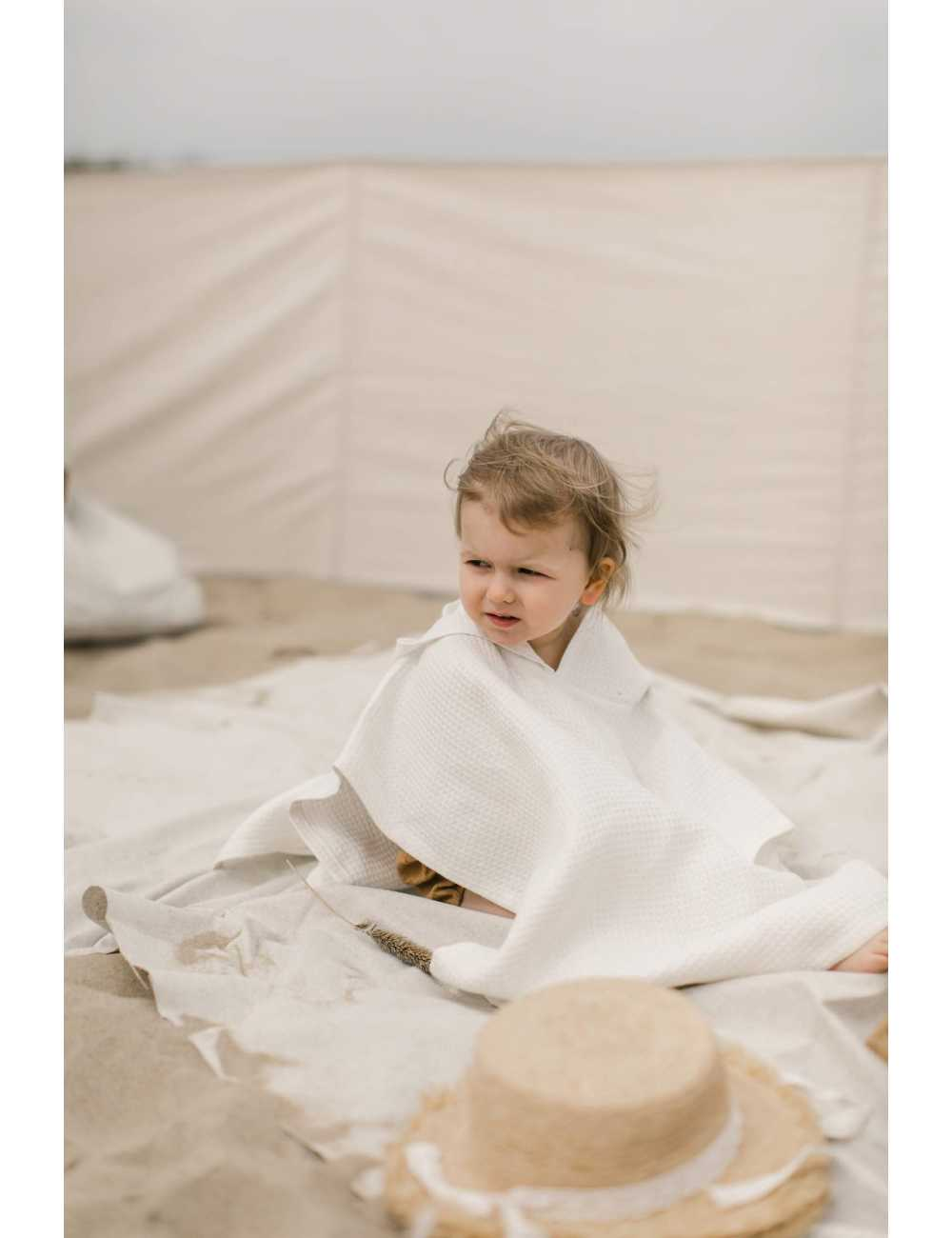 linen hooded wafer poncho towel, Hiuma, cream color 1