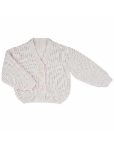 Merino chunky knit cardigan | Milk