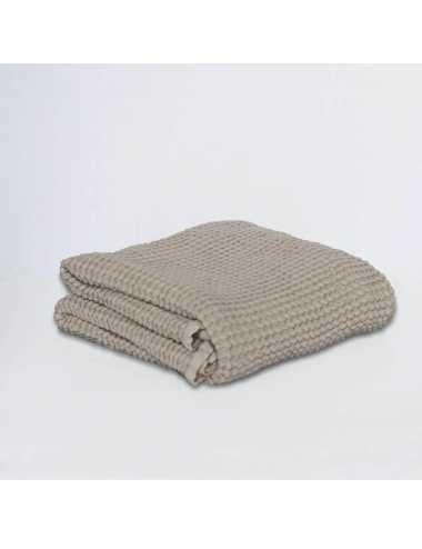 Couverture gaufrée en lin et coton | almond