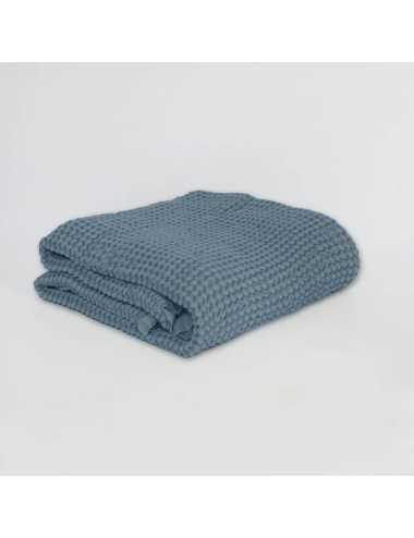 Couverture gaufrée en lin et coton | ocean blue