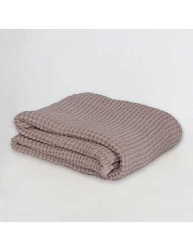 Couverture gaufrée en lin et coton |powder pink