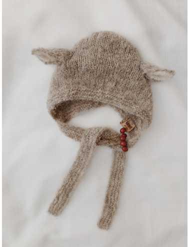 Baby bonnet silk and alpaca | light grey