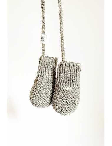 Alpaca wool baby mittens | grey