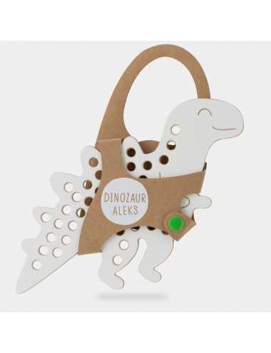 Montessori wooden lacing toy + green lace | Dinosaur Alex