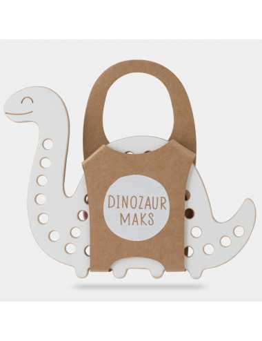 Montessori wooden lacing toy + green lace | Dinosaur Max