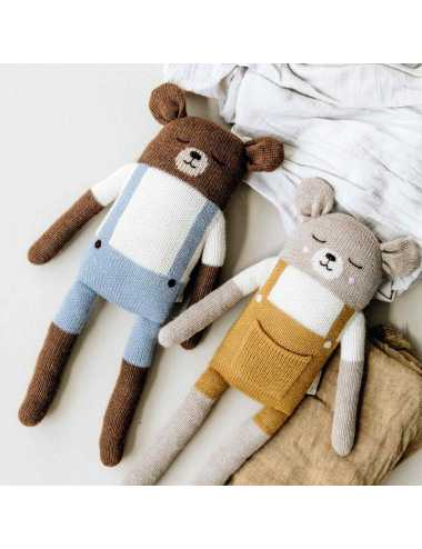 Large teddy knit toy | blue
