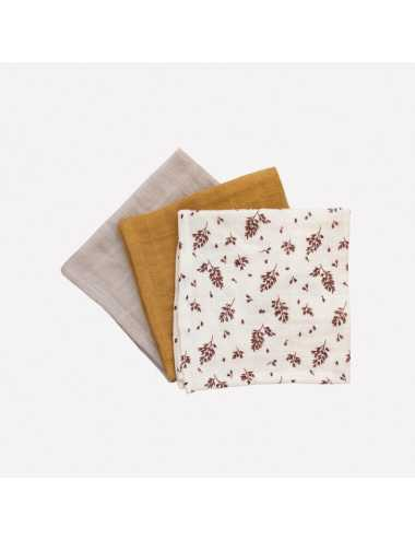 Cotton muslin wipes 3-pack | meadow print
