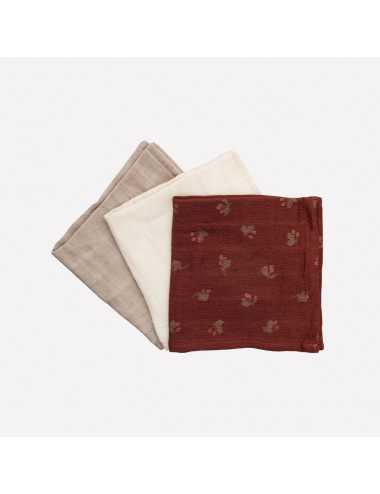 Cotton muslin wipes 3-pack |hawthorns print