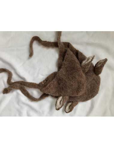 Baby bonnet silk and alpaca | dark beige