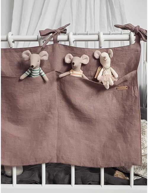 Linen crib organiser | dusty pink