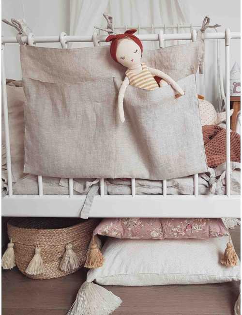 Linen crib organiser | natural