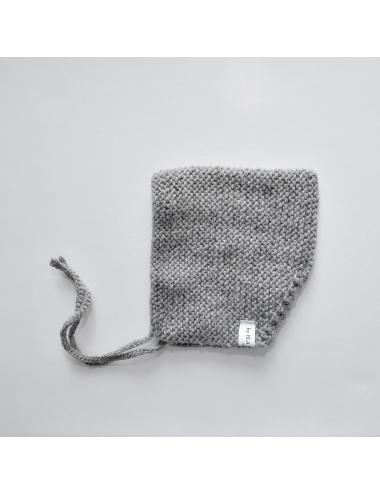 Alpaca wool baby bonnet | grey