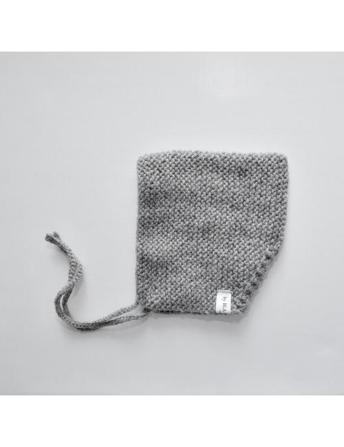 Alpaca wool baby bonnet | grey