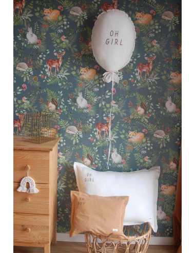 Balloon cushion Oh Girl | ecru