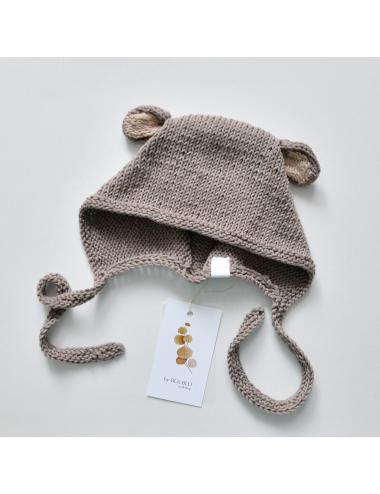 Baby bonnet with bear ears | brown
