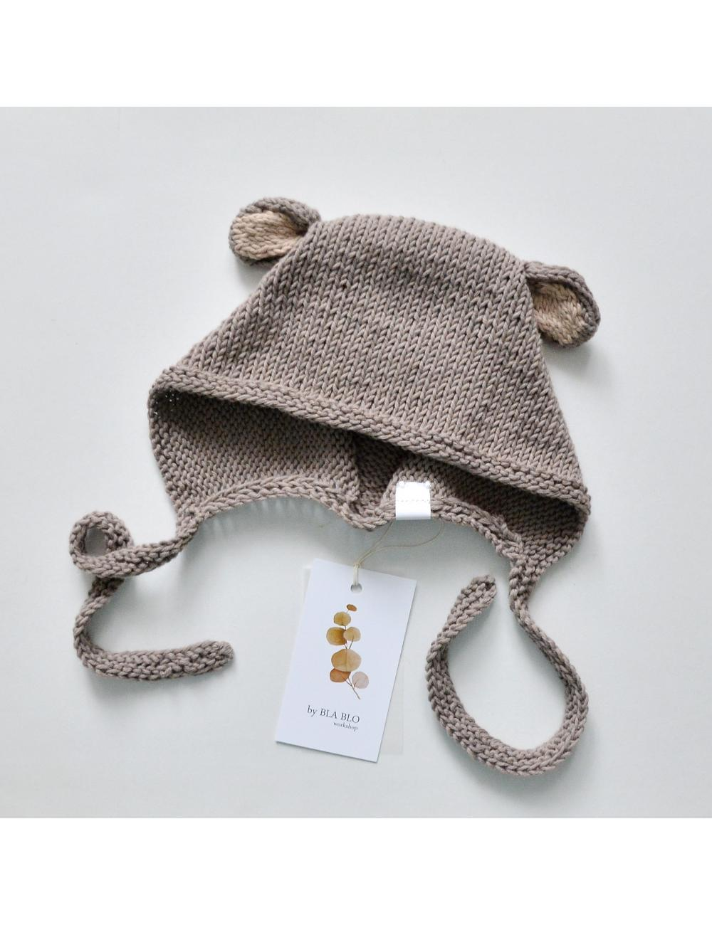 Baby bonnet with bear ears | browntest