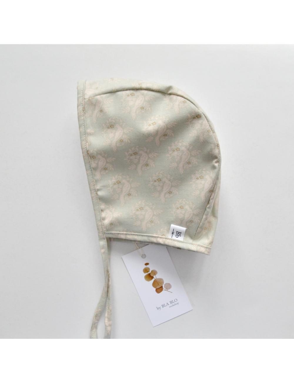 Cotton baby bonnet | bird minttest