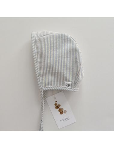 Cotton baby bonnet | blue stripes