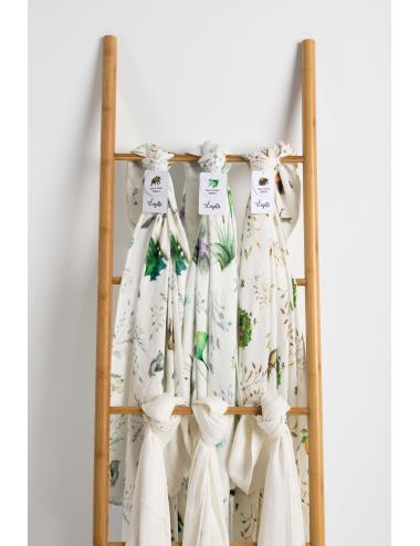 Baby swaddle blanket 120 x 120 cm| organic bamboo | pond