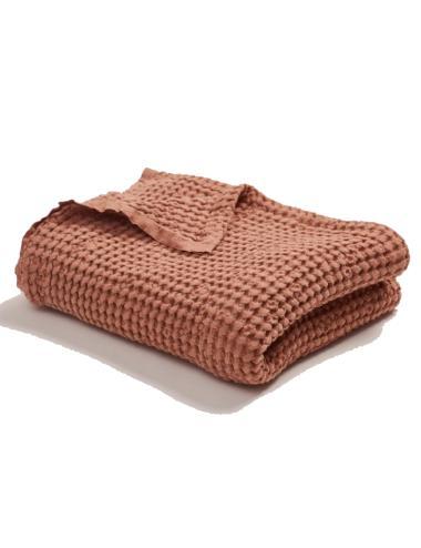 Linen cotton waffle blanket | brick