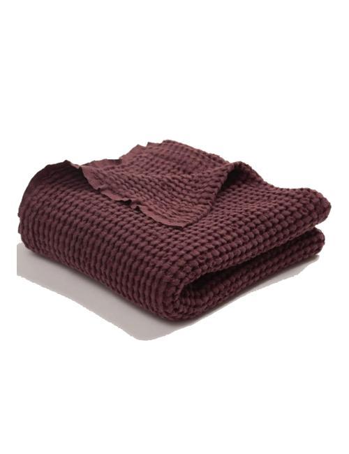 Linen cotton waffle blanket | burgundy