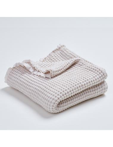 Linen cotton waffle blanket | ecru