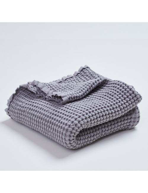 Linen cotton waffle blanket | grey