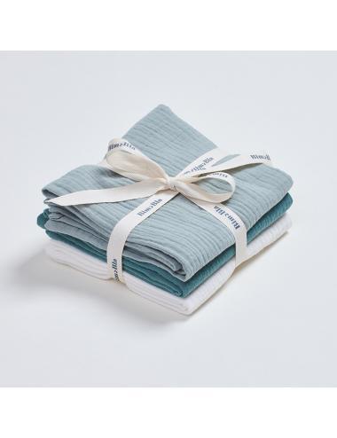 Cotton muslin burp cloths 3-pack | green