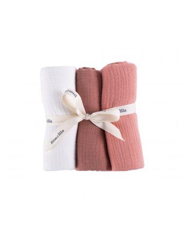 Cotton muslin burp cloths 3-pack | brick