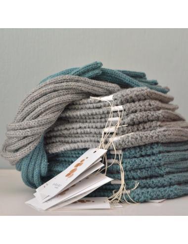 Alpaca wool baby bonnet | sea