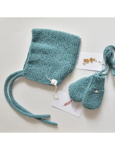 Alpaca wool baby bonnet | sea