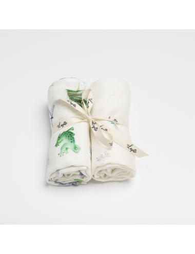 Bamboo cotton burp cloth 2-pack | pond
