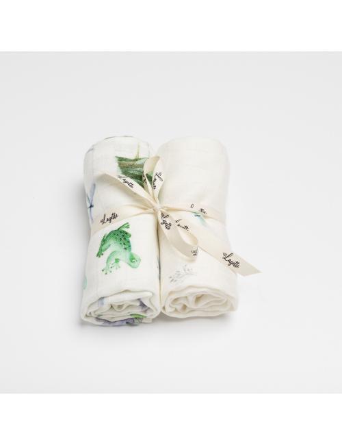 Bamboo cotton burp cloth 2-pack | pond