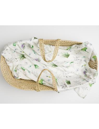 Baby swaddle blanket 120 x 120 cm| organic bamboo | pond