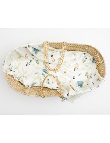 Baby swaddle blanket 120 x 120 cm| organic bamboo | sea