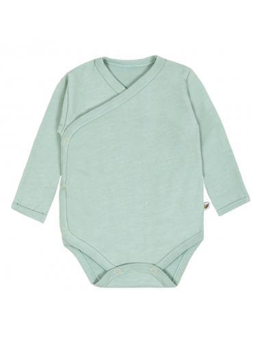 Kimono baby bodysuit long-sleeve | mint