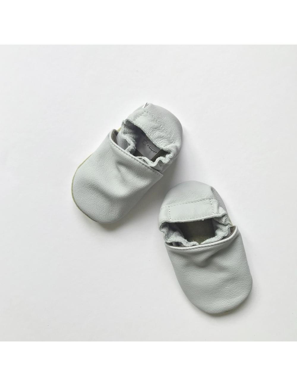 Leather baby slippers | light grey