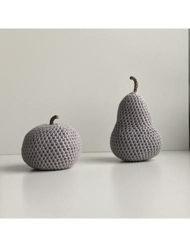 Décoration au crochet, pomme   gris