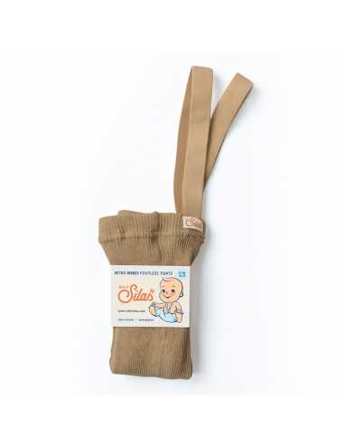 Silly Silas Cotton ribbed footless baby tights | light brown