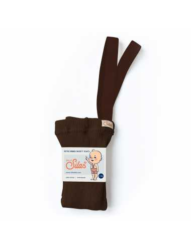 Silly Silas shorty tights with braces | chocolate brown